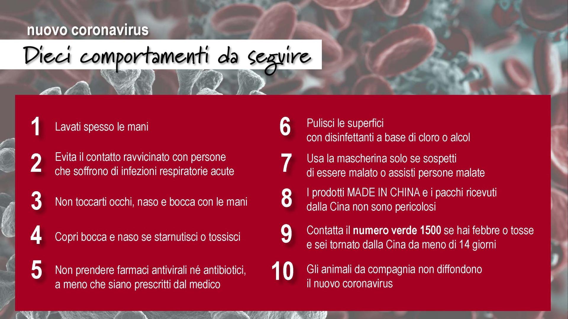 Coronavirus Covid-19: i dieci comportamenti da seguire